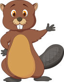 Beaver cartoon waving hand — Stock Vector
