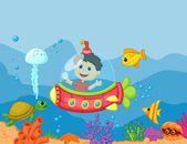 Boy in submarine — Stock Vector