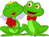 Bride and Groom Frogs Cartoon — Stock Vector