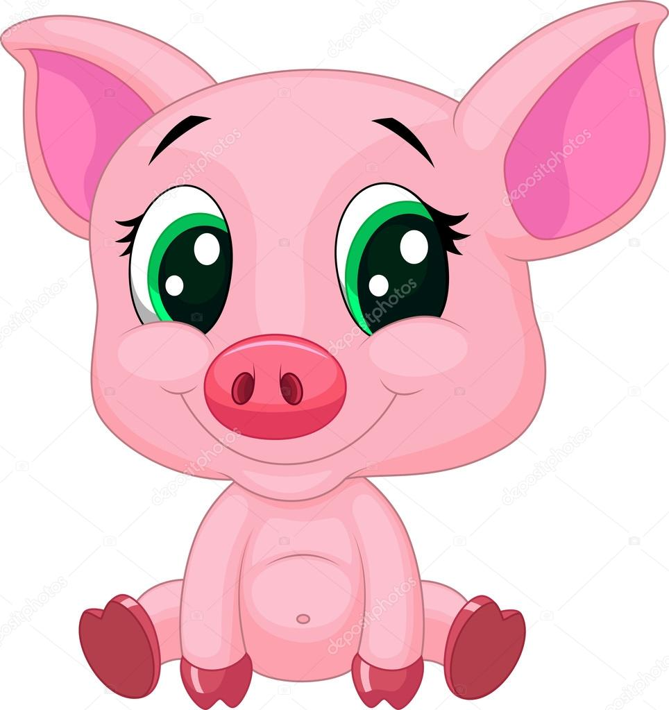 Cute pig cartoon — Stock Vector © tigatelu #32962765 Cute Cartoon Pigs With Big Eyes