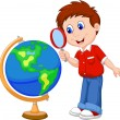 Boy with globe — Stock Vector