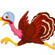 Stock Vector: Cartoon turkey running