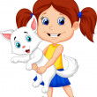 Happy cartoon little girl hugging her pet — Stock Vector