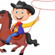 Stock Vector: Cowboy rider on horse throwing lasso