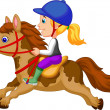 Little girl riding a pony horse — Stock Vector