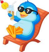 Cute pingwina siedzącej na krześle plaży — Wektor stockowy