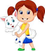 Happy cartoon little girl hugging her pet — Stock Vector