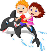 Boy and girl riding orca — Stock Vector