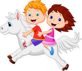 Boy and girl riding a white horse — Stock Vector