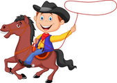 Cowboy rider on the horse throwing lasso — Stock Vector