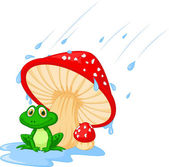 Illustration of mushroom with a toad — Vector de stock