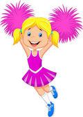 Cheerleader with Pom Poms — Stock Vector