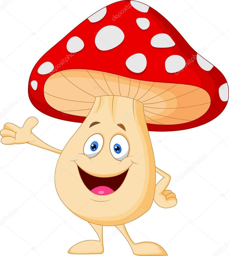 Simpatico cartone animato dei funghi — vettoriali stock