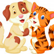 Cute cat and dog cartoon — Stock vektor #33880545