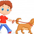 Cute boy walking with dog — Stock Vector