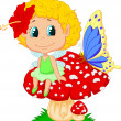 Baby fairy elf sitting on mushroom — Stock Vector #33881471