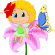 Baby fairy elf sitting on flower — Stock Vector
