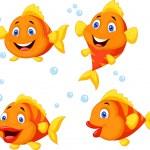 Cute fish cartoon collection set — Stock Vector