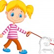 Cute girl walking with dog — Stock Vector