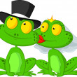 Married frog kissing — Stockvectorbeeld