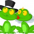Married frog kissing — Vettoriali Stock
