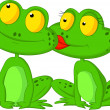 Stock Vector: Frogs kissing