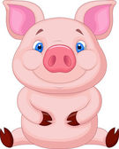 Cute baby pig sitting — Stock Vector