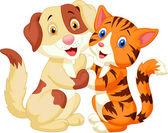 Cute cat and dog cartoon — Stock Vector