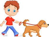 ładny chłopak, spacery z psem — Wektor stockowy