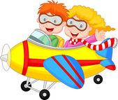 Lindo chico y una chica en un avión — Vector de stock
