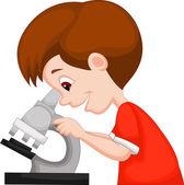 Young boy using microscope — Stockvektor