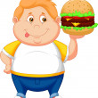 Fat boy smiling and ready to eat a big hamburger — Stock Vector
