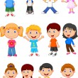 Cute children cartoon collection — Stock Vector