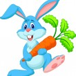 Cute rabbit with carrot — Stock Vector