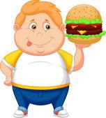 Vet jongen lachende en klaar om te eten een grote hamburger — Stockvector