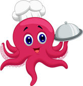 Octopus chef holding platter — Stock Vector
