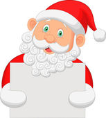 Santa clause holding blank sign — Stock Vector