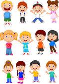 Cute children cartoon collection — Stock Vector