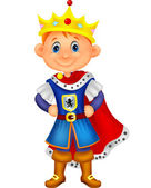 Cute boy with king costume — Stock Vector