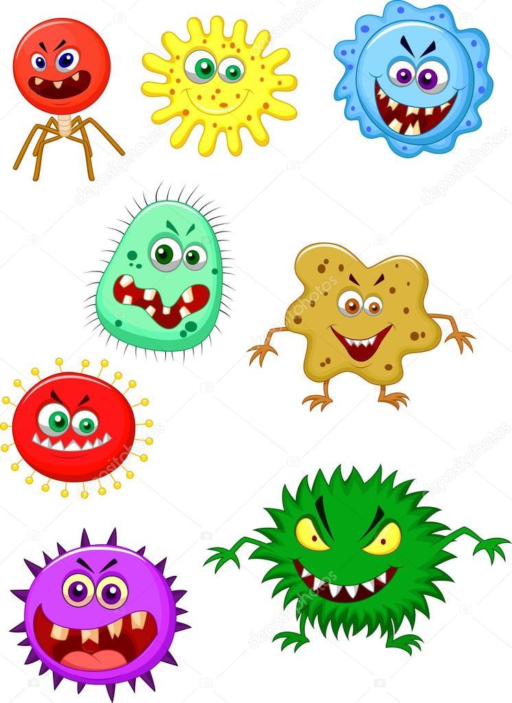 Colección de dibujos animados de virus — 4371 × 5993