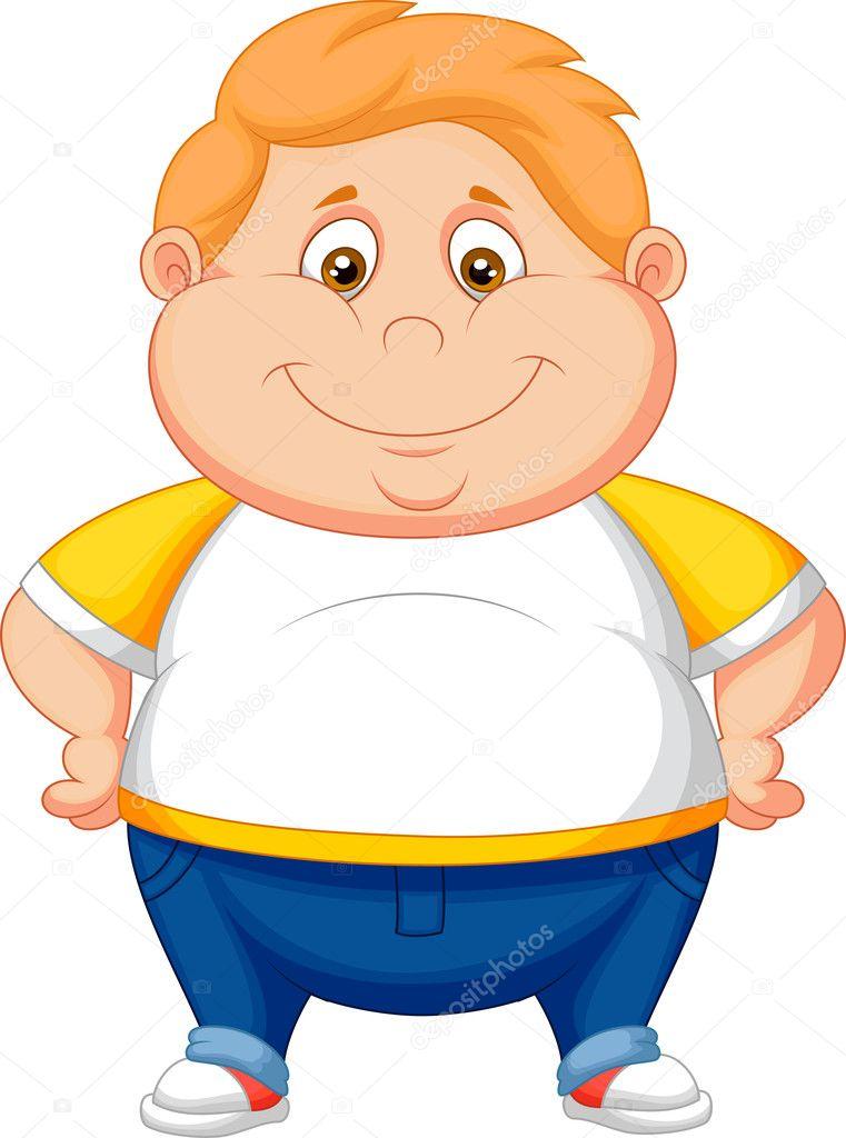 Ragazzo grasso cartone animato in posa — vettoriali stock