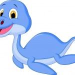Swimming dinosaur cartoon — Stock Vector #35077555