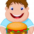 Fat boy smiling and ready to eat a big hamburger — Stock Vector #35077993