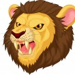 Angry lion head cartoon character — Stock Vector