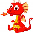 Stock Vector: Cute baby dragon cartoon