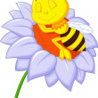 Little bee sleeping on the big flower — Stock Vector
