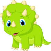 Cute baby triceratops cartoon — Stock Vector