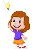 Little girl with big idea — Stock Vector