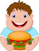 Fat boy smiling and ready to eat a big hamburger — Stock Vector