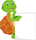 Cute turtle cartoon with blank sign — Stock Vector